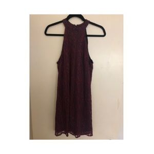 Deep Magenta and Navy Lace Halter Dress!